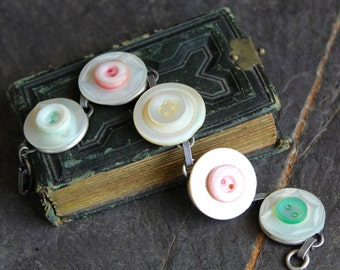 Mother of pearl button bracelet pink green MOP shell, vintage buttons, assemblage, jewelry up cycled, recycled, oldnouveau