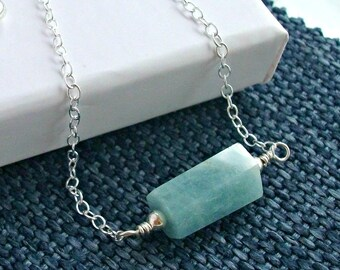 Aquamarine Nugget On Sterling Silver - Gift For Her