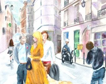 Lady in Yellow Paris - Original Watercolor Painting 12x16