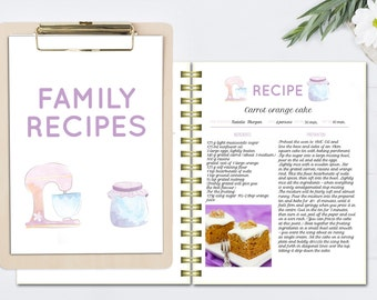 Recipe template, editable cook book, DOC template, printable recipe pages, cook book template, blank recipe cards, Letter size