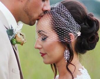 Bridal Hairpins / Rhinestone Hair Pins / Juliet Cap / Wedding Veil / Bridal Hair Accessory / Set of 2 / Veil / Fascinator / Silver / Bride