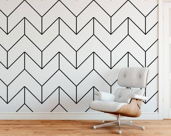 Oversized Herringbone, Black And White Wallpaper, Modern Wallpaper, Peel  And Stick, Herringbone