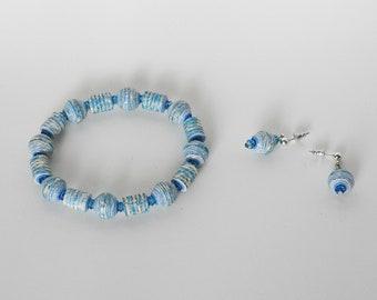 Handmade Paper Bead Bracelet & Earrings - Aquamarine