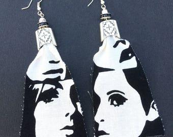 Handmade Fabric Earrings, Mod, Abstract, Face, Fun, Festival, Boho, Gypsy, Statement, Retro, Punk, Art, Sexy (Hallow Mirror Earrings)