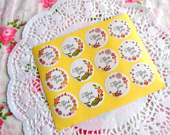Floral Thank You Sticker 36 pcs, Thank You Label, Wedding Sticker, Gift Wrapping, Packaging Sticker, Envelope Seals, Floral Sticker,
