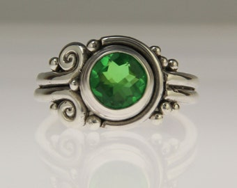 Sterling Silver Green Quartz Ring/ Green Quartz Doublet/ Green Gemstone Ring/ One of a Kind Ring/ Unique Quartz Ring/ Bezel Set Ring/ R1192
