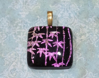 Pink Dichroic Pendant, Fused Glass Pendant, Pink, Black, Large Gold Plated Bail, Ready to Ship, Fused Glass Jewelry - Oasis -3541