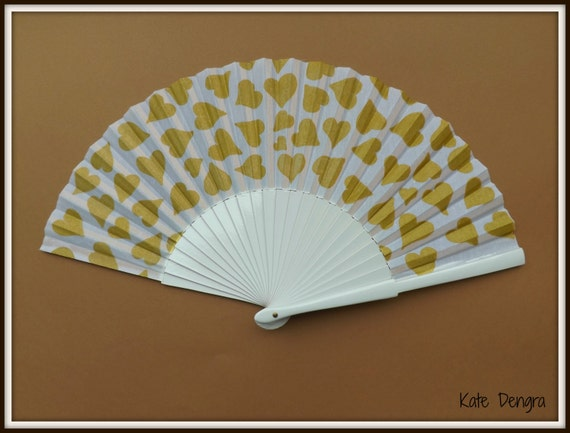 White with Gold Hearts Valentines Day SIZE OPTIONS Hand Held Folding Fan From Spain by Kate Dengra MTO