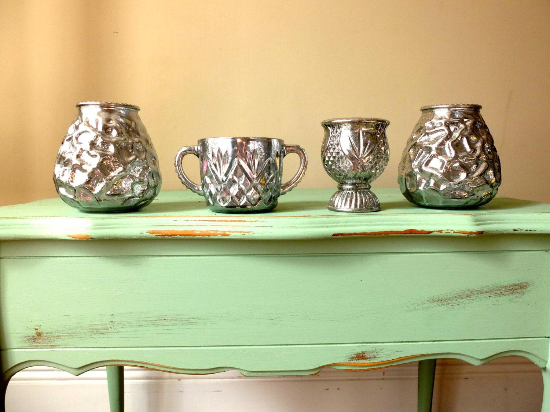 Set of 9 Vases Mercury Glass Bud Vases Mix and Match Vases
