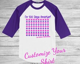 100 Days of School Shirt, Girls 100 Days Shirt, Girls 100 Days Smarter Shirt, 100 Days of School Raglan, Kids 100 Days o School Shirt