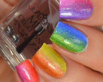 New! ROY G. BIV 8pc mini size collection colorshift holographic indie polish by MDJ Creations