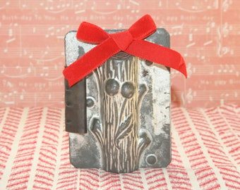 Antique Christmas Yule Log with Holly Metal Chocolate Mold