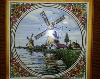 Vintage,  Delft, Plaque, Tile, Trivet, Windmill
