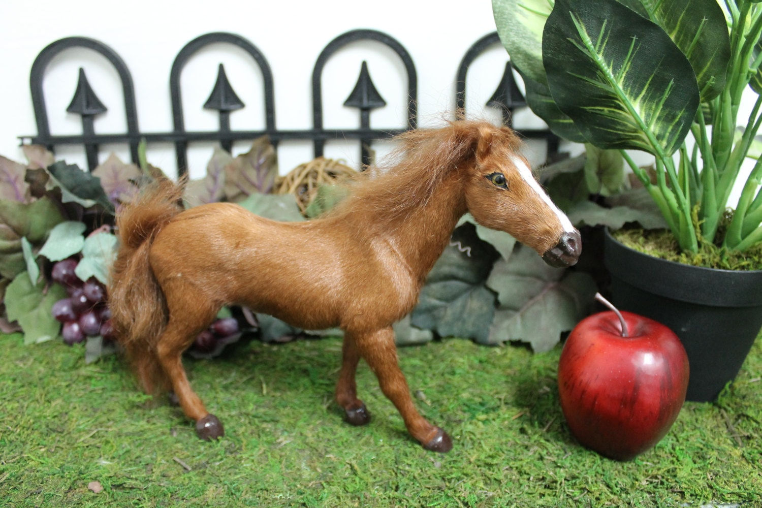Brown Horse Furry Animal Stand Figurine Mythical Tan Pony