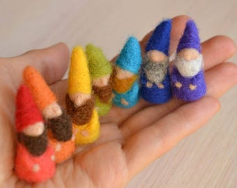Felt gnome Seven Miniature gnomes Felted dwarf small Garden gnome Needle felted gnome Waldorf wool fairy gnome Fantasy figure