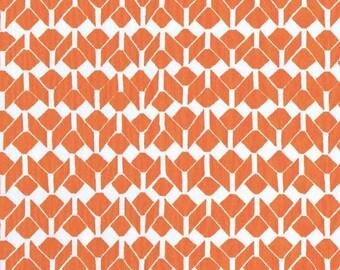 Prairie (Fire Orange) on Organic Cotton Interlock Fabric-HALF YARD