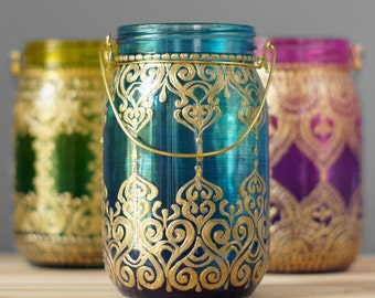 Mason Jar Eclectic Home Decor- Moroccan Style Hanging Lantern, Hand Painted Ombre Tinted Glass from Cobalt to Teal, Golden Accents