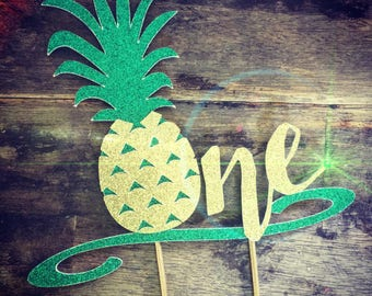 Customizable Pineapple Cake Topper. First Birthday Cake Topper, Luau Cake Topper. One Birthday
