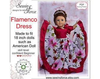 18 inch doll clothes pattern dress. Flamenco dress fits 18 inch dolls such as American girl doll  - PDF sewing pattern instant download
