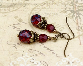 Red Earrings, Ruby Earrings, Garnet Earrings, Victorian Earrings, Vintage Look Earrings, Picasso Earrings, Czech Glass Beads, Gifts for Her