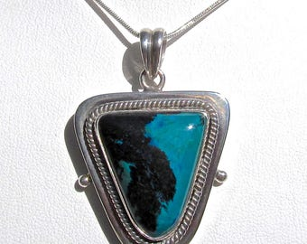 Vintage Chrysocolla and Tenorite in .925 Sterling Silver Pendant-105 Cts.  41mm L X 34mm W