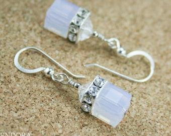 Violet Opal earrings,Swarovski cube earrings,Silver Cube earring,Neutral wedding,crystal cube earring,Violet bridesmaid earrings
