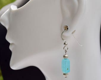 Sterling Silver All Natural Blue Opal Earrings