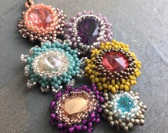 SAMPLER1-Swarovski Crystal Hand Beaded Beadweave One of a Kind Necklace