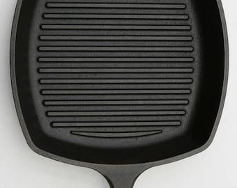 """Vintage LODGE Pristine No. 9 Square Grill Pan, Cast Iron Broiler Skillet x Large 10 1/2"""" Pan, Professionally Cleaned & Organically Seasoned"""
