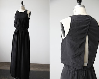 Black SILK Charmeuse Maxi Dress with Open Back High Slits XS-S Vintage