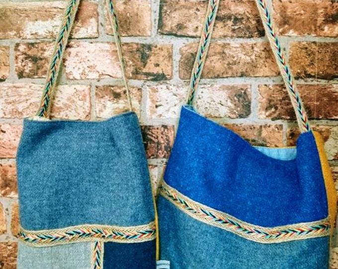 Hand Crafted Harris Tweed boho tote style bag