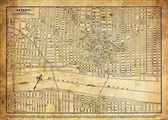 1920 Detroit Michigan Street Map Vintage Sepia Grunge Print