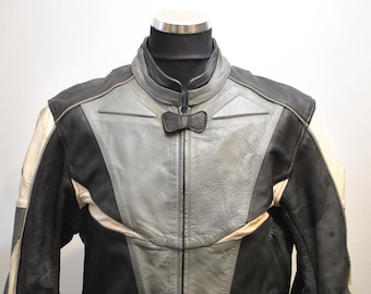 Vintage MOTORCYCLE LEATHER JACKET , men's biker jacket .............(676)