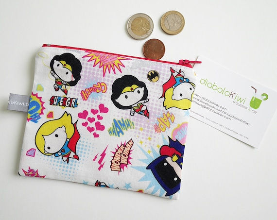 Coin purse - mini zippered pouch - Super Heroines - Supergirl - Batgirl - Wonder Woman - Pink - bag - purse - gift for girls - Christmas