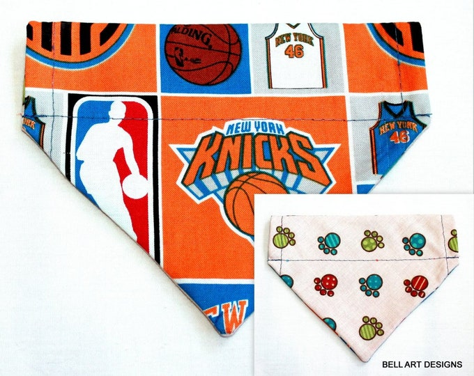 NEW YORK KNICKS ~ Over the Collar ~ Reversible ~ Dog Pet Bandana ~ Bell Art Designs ~ Extra Small ~ DCXS0206