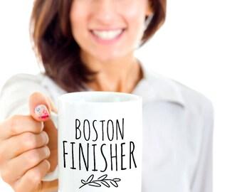 Boston Marathon Finisher Mug - Boston Marathon Runner Gift for Crossing the Finish Line - Black or White 11 or 15 oz Ceramic Coffee Tea Cup