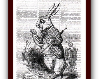 White Rabbit Print Wall Art Alice in Wonderland Home Decor  Art Print: upcycled dictionary pages  musical Notes Art Print