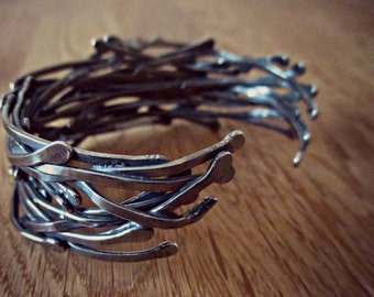 TWISTED VINES STATEMENT cuff - traditional Silversmith techniques, nature inspired, Sterling Silver woodland jewellery,totally one of a kind
