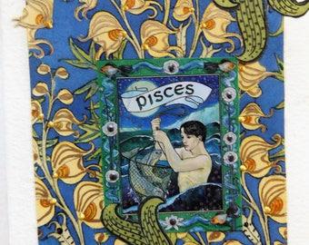 Fine Art Greeting Card: OOAK Zodiac Montage 'Pisces'