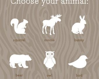 Woodland Nursery Prints / Cute Animal Art Prints / Choose from Squirrel, Moose, Bunny, Bear, Owl or Bird