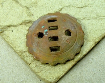 Antique Huge Brass Button - Archaeological Finds - b11