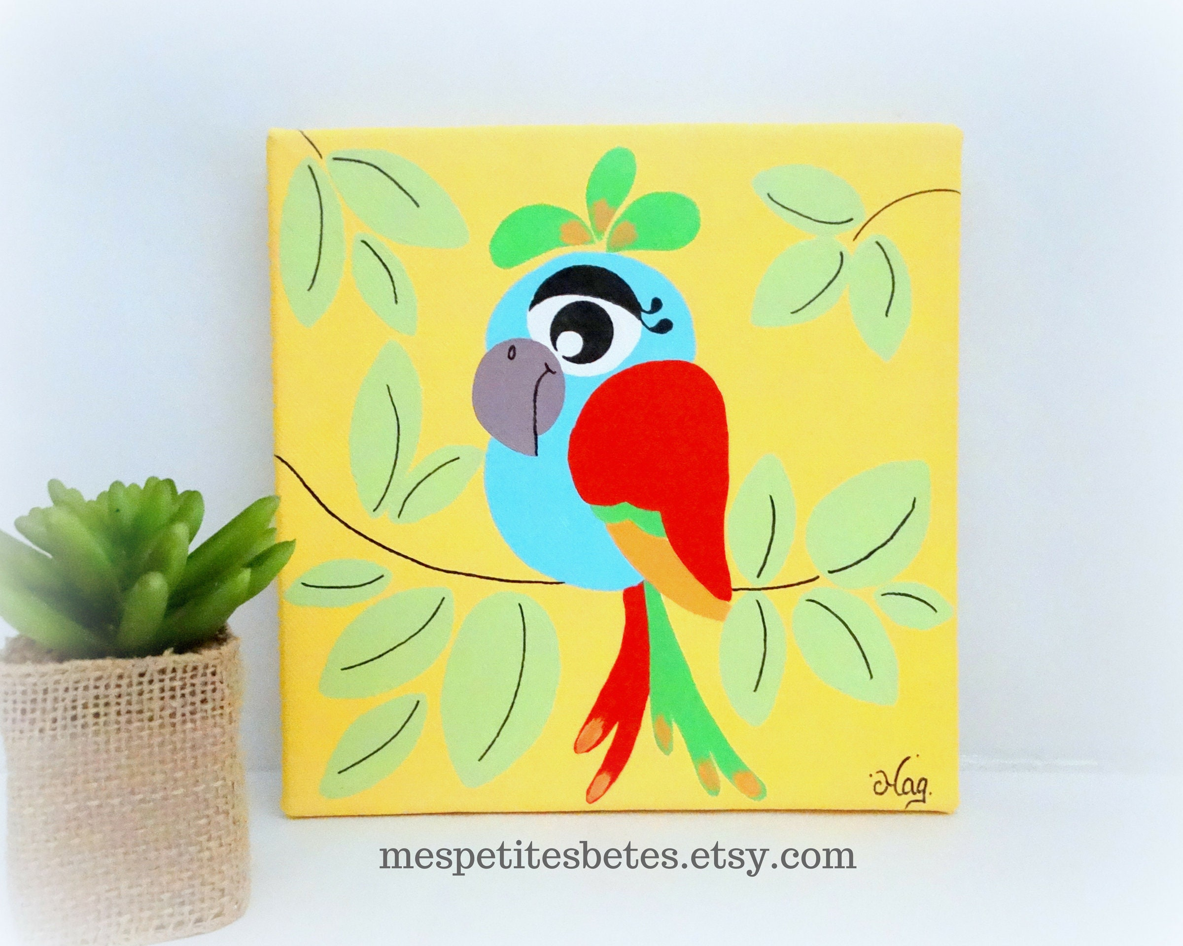 Parrot painting parrot painting for nursery Nursery wall