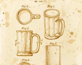 beer art, Beer Mug Patent, painted using beer, technical, patent drawing, scientific, historical, stein