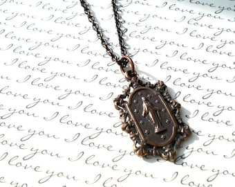 Miraculous Medal - Lace Miraculous Medal Necklace - Bronze - Vintage Replica - Made in the USA