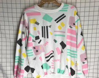 Vintage 80's Shapes Geometric Memphis Pattern Pastel Sweatshirt