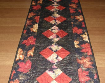 Fall Quilted Table Runner, Table Runner Quilt Fall, Black Red Orange Gold Table Runner, Patchwork Table Runner Quilt, Quiltsy Handmade