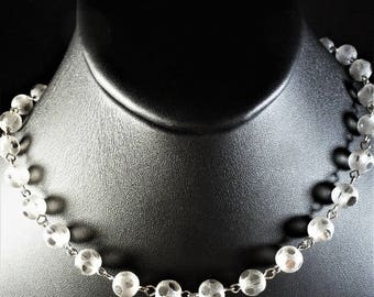 Delicate Gray Frosted Czech Doted Glass Choker Necklace