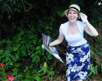 Hawaiian Skirt, Pencil Skirt, Custom Skirt, Skirt, Vintage style, Blue Skirt, Hawaii, Made in Hawaii, Luau, Tiki, Hibiscus, Hawaii Map