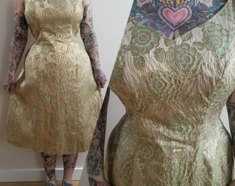 1960's 60s 60's Vintage Emma Domb Green Gold Brocade Evening Dress Pinup Formal Dance Prom Dress Metallic Gold   Livingston Brothers