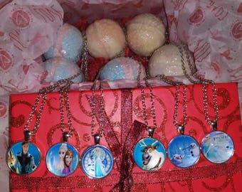 Disney's Frozen  necklace hidden inside bath bombs!  Amazing scents!!